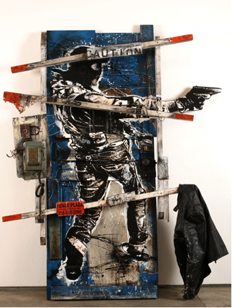 "WK Interact - ""99 Crosby Street"" collage and mixed media on found door, 83 x 66 1/2 x 10 inches"
