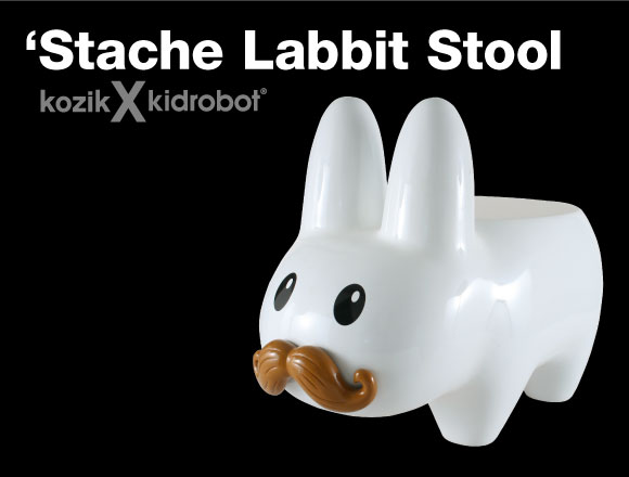 White 'Stache Labbit Stool