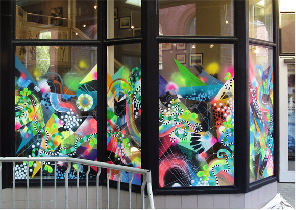 Cleaves & Moore, Mural at Corduroy Gallery, 2009. Spray paint, enamel, acrylics, paint markers, watercolors, inks.