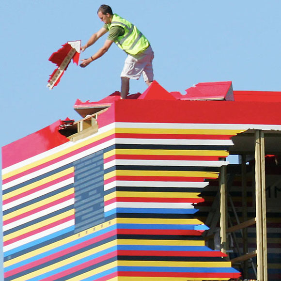 Lego House Roof being dismantled