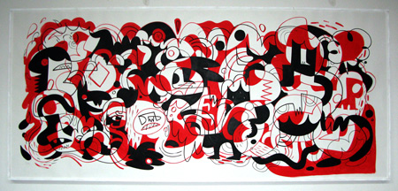 Data Snooping (red), painting on paper