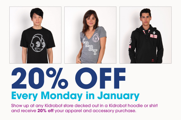 20% Off Apparel Mondays in January