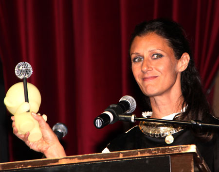 Sally Singer at the Paper Magazine Nightlife Awards 2009 with her MUNNY