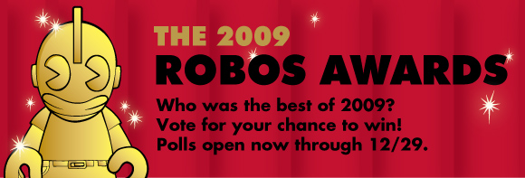 The 2009 Kidrobot Robos honoring the best of the year