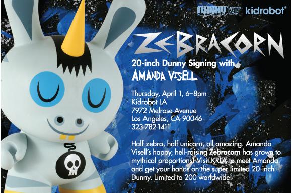 Amanda Visell Zebracorn Dunny Signing at Kidrobot LA