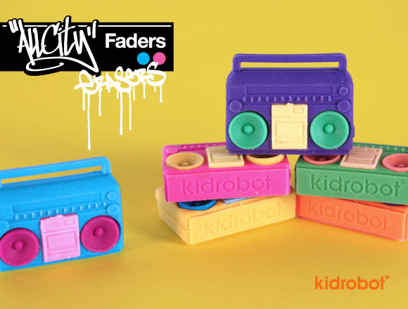 6 Pieces//Pack Ideal Gift Set Kidrobot All All City Breakers Boombox Erasers
