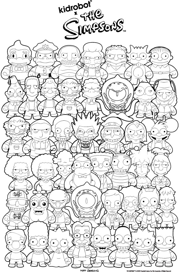 The first ever matt groening figure is here kidrobot blog for Coloring pages simpsons