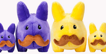 Product Preview - Stache Labbit Plush Yellow & Purple