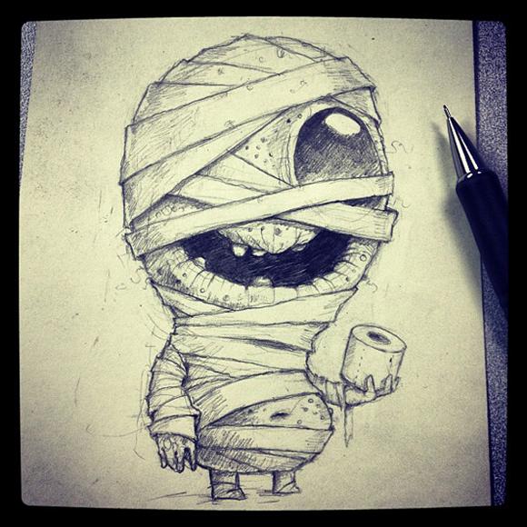 Chris Ryniak S Month Long Halloween Sketches Kidrobot Blog