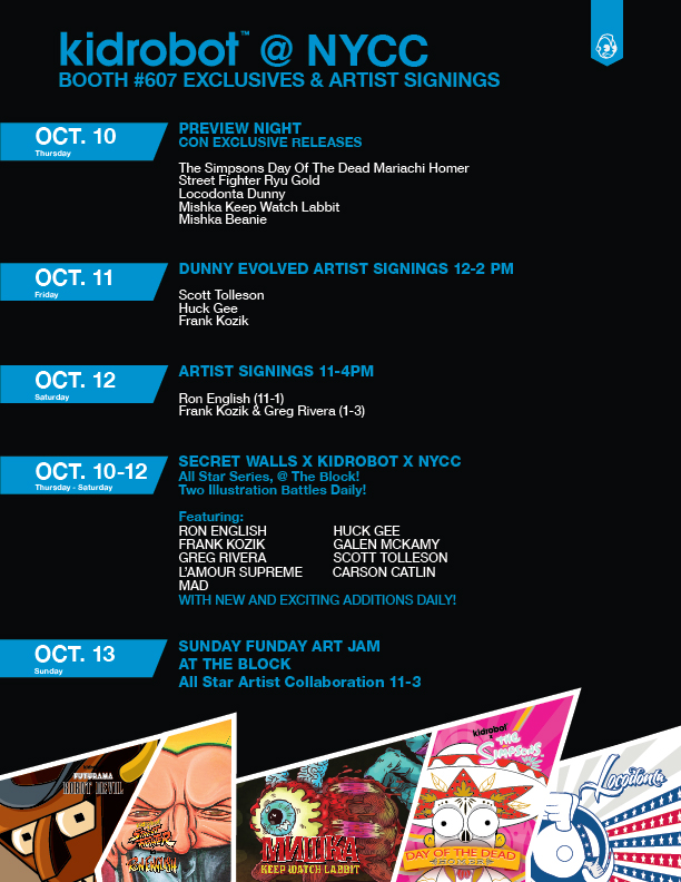nycc artist signing and event schedule update kidrobot