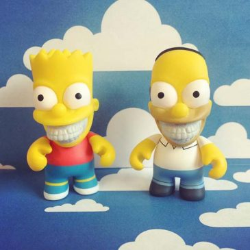 Ron English's Bart & Homer Simpson Grin 3″ Coming Next Week!