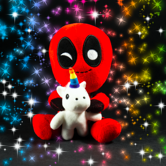 Kidrobot x Deadpool Riding Unicorn Plush