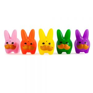 PRIDE Mini 'Stache Labbit Art Toy 5-Pack by Frank Kozik and Kidrobot - LGBTQ Pride