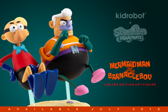 Kidrobot mermaid man and Barnacle boy