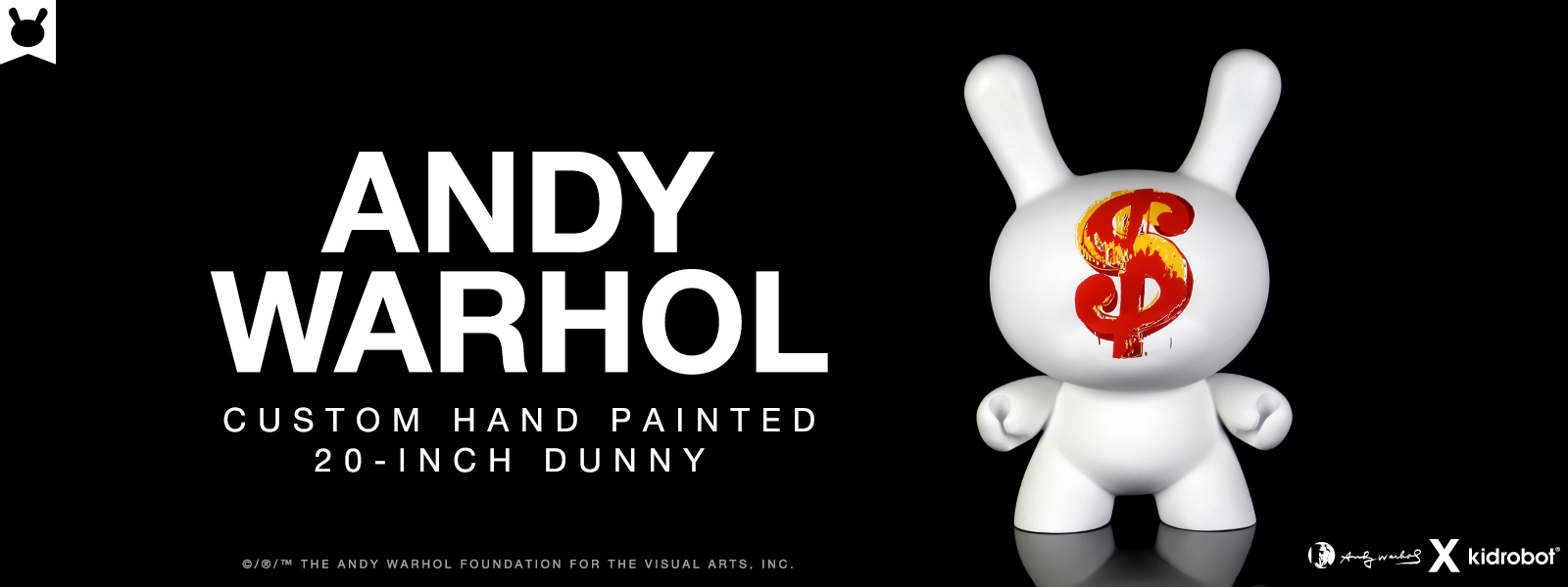 "Kidrobot x Andy Warhol 20"" Dollar Sign 1982 Dunny Sculpture"