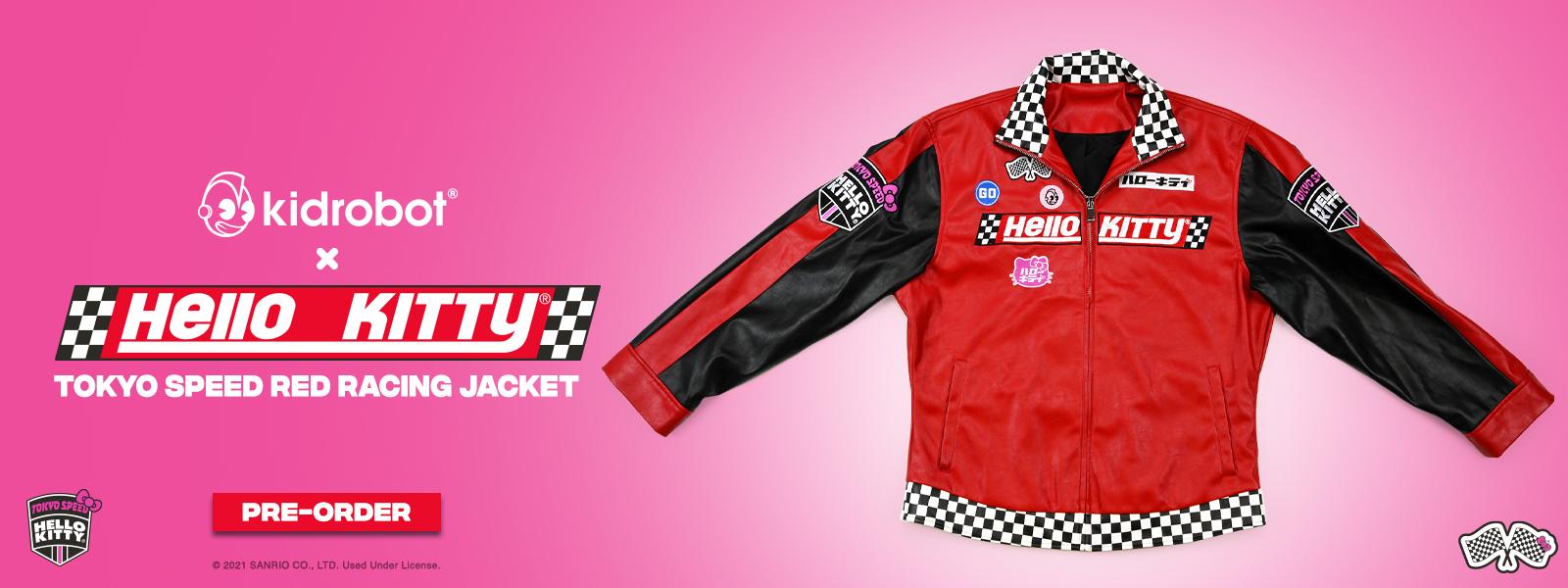 Race for the finish line in Kidrobot's Hello Kitty® Tokyo Speed moto jacket!