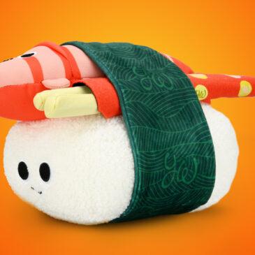 Satisfy your sushi cravings with this Yummy World Bubba the Shrimp Nigiri Interactive Plush!