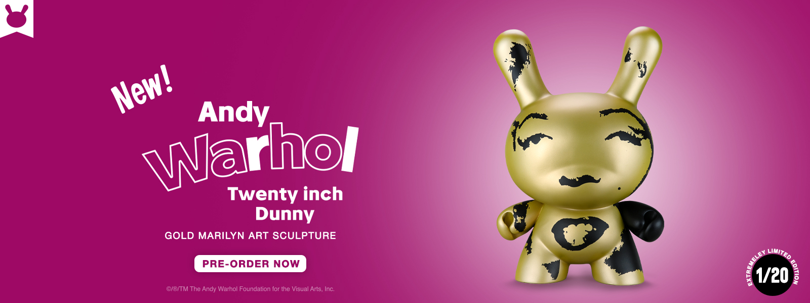 """Andy Warhol 20"""" Dunny Gold Marilyn"""