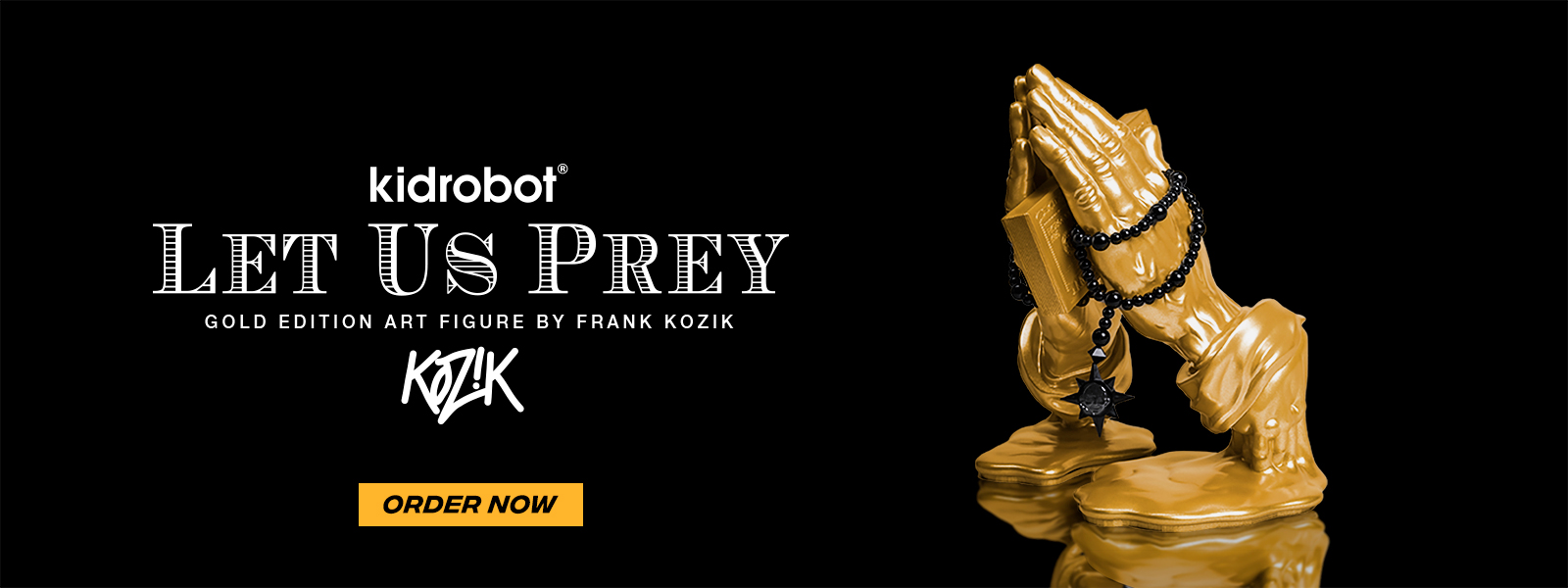 """Head over to the Kidrobot Virtual Con for your chance to order the shiny gold edition of Frank Kozik's """"Let Us Prey"""" art vinyl figure - G(u)ilt Edition dropping right now!"""